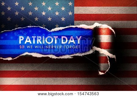 Patriot Day September 11 2001 we will never forget concept with abstract american flag Torn Paper Background
