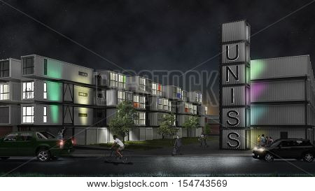Campus at night, exterior design, 3d illustration