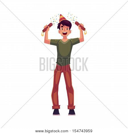 Happy young man in birthday hat with party poppers in his hands, cartoon vector illustration isolated on white background. Young man having fun at birthday party celebration