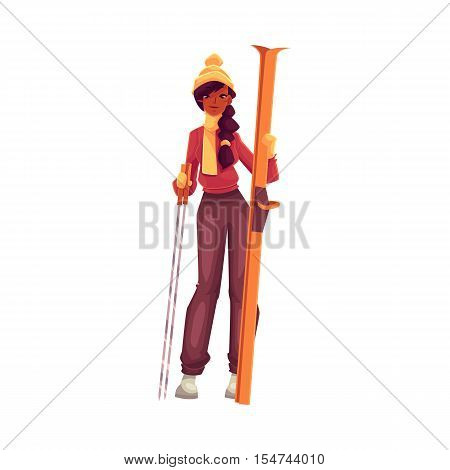 Young black woman with ski and poles, cartoon vector illustration isolated on white background. Full height portrait of beautiful African American female skier, fun winter activity, outdoor leisure