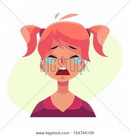 Teen girl face, crying facial expression, cartoon vector illustrations isolated on yellow background. Red-haired girl emoji face crying, shedding tears, sad, heart broken, in grief.