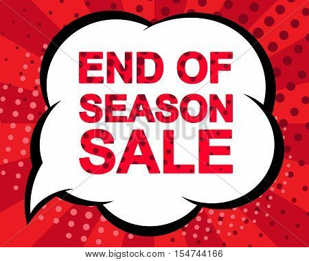 Big winter sale poster with END OF SEASON SALE text. Advertising blue and red banner template. Pop art style