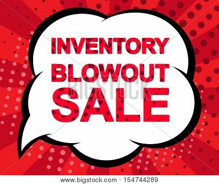 Big winter sale poster with INVENTORY BLOWOUT SALE text. Advertising blue and red banner template. Pop art style