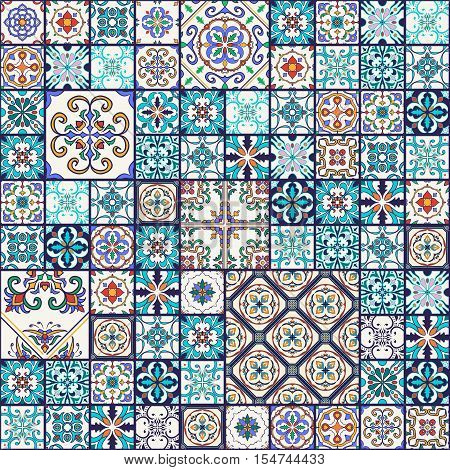 Vector seamless texture. Beautiful mega patchwork pattern for design and fashion with decorative elements. Portuguese tiles Azulejo Moroccan ornaments
