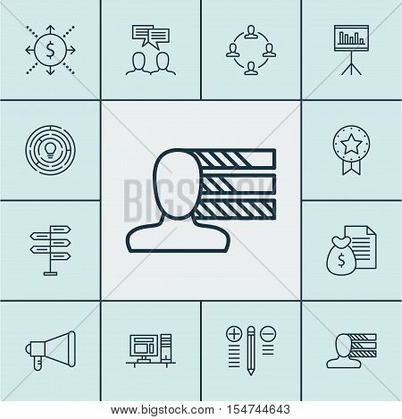 Set Of Project Management Icons On Collaboration, Money And Computer Topics. Editable Vector Illustr