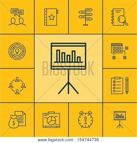 Set Of Project Management Icons On Discussion, Collaboration And Board Topics. Editable Vector Illus
