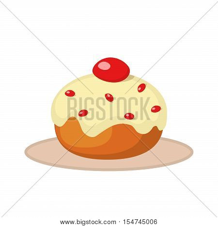 Easter cake traditional sweet doughnut food. Donut with cherry jam easter cake holiday dessert homemade icing biscuit. Traditional baked easter cake or jewish hanukkah sweet doughnut cupcake vector.
