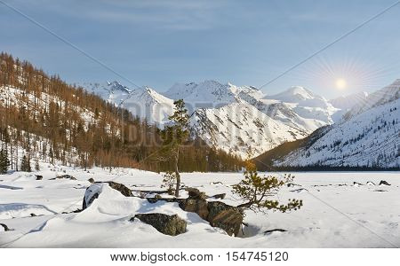 Beautiful Winter Landscape, Altai Mountains,  Siberia, Russia.