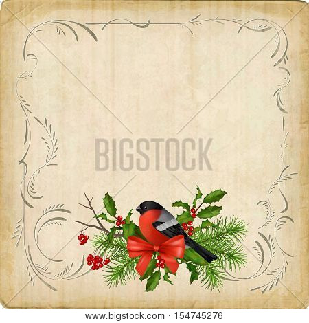 Vintage vector card with holiday composition of the Christmas decorations bird bullfinch bow decorative border frame