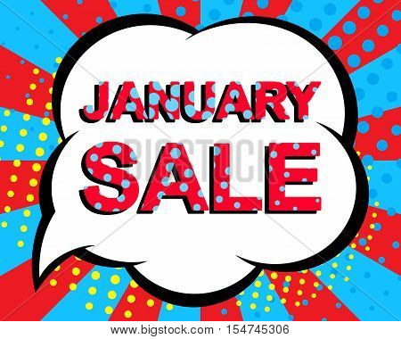Sale poster with JANUARY SALE text. Advertising blue and red banner template. Pop art style