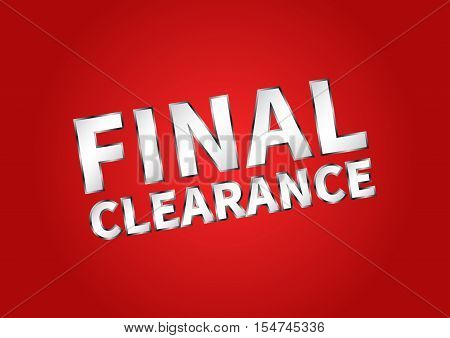 Banner Final Clearance horizontal vector illustration on red background. Final Clearance creative concept for websites retail stores advertising.