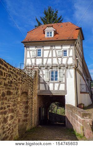 Residential tudor style house , with blue sky in background. Castle Neuenbuerg in Germany.