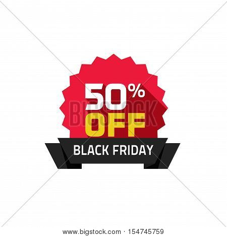 Black Friday sale vector label isolated on white background, 50 percentage off special deal badge with Black Friday ribbon, discount tag, clearance promotion rosette symbol