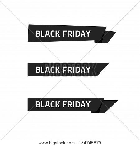 Black Friday ribbon vector sticker isolated on white background, special deal badge with Black Friday text, discount tag icon, sale clearance promotion symbol