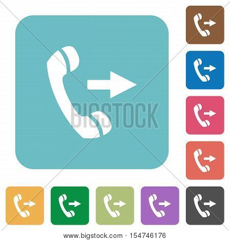 Outgoing call white flat icons on color rounded square backgrounds
