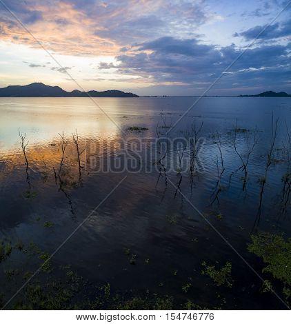 beautiful scenic of Bangpra reservoir dusky time in chonburi eastern thailand