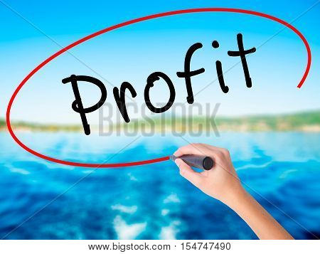 Woman Hand Writing Profit With A Marker Over Transparent Board