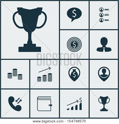 Set Of Management Icons On Wallet, Business Deal And Money Topics. Editable Vector Illustration. Inc