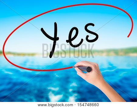 Woman Hand Writing Yes With A Marker Over Transparent Board