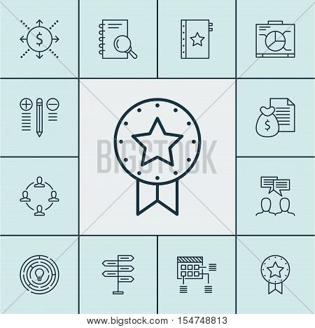 Set Of Project Management Icons On Analysis, Innovation And Money Topics. Editable Vector Illustrati
