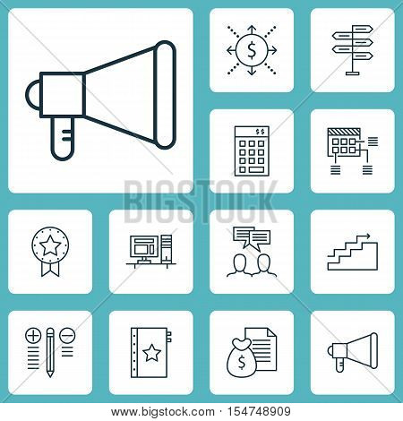 Set Of Project Management Icons On Investment, Present Badge And Opportunity Topics. Editable Vector