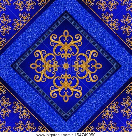 Golden crystals weaving arabesques. Gold arabesque oriental style abstract figure tiles mosaics. Sparkling decorative square frame. Dark blue background mural.