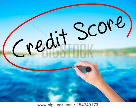 Woman Hand Writing Credit Score Black Marker On Visual Screen