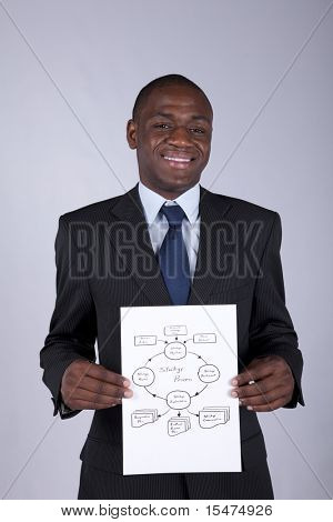Happy african businessman showing a strategy process diagram