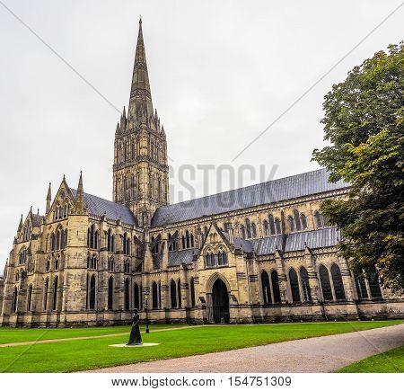 Hdr Salisbury Cathedral In Salisbury