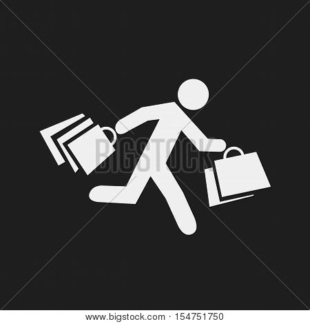 stick figure with shopping bags. Symbol of running man with shopping bags. Vector illustration