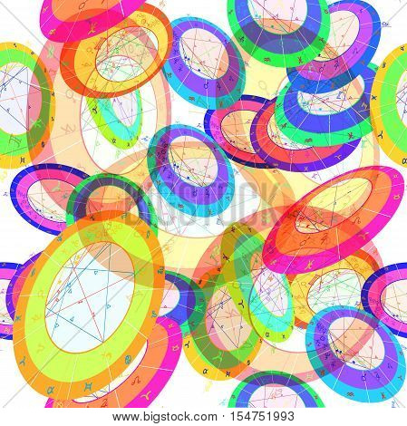 Seamless Pattern Different Colored Natal Astrological Chart, Zodiac Signs. Vector Illustration
