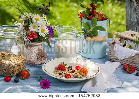 Breakfast with oatmeal fruit and milk on old table
