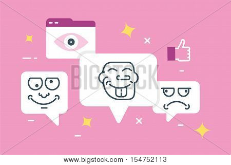 Vector flat linear illustration of trolling. Social provocation or mockery. Boorish behavior