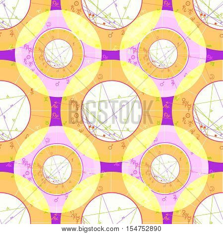 Seamless Pattern Natal Astrological Chart, Zodiac Signs On Purple. Vector Illustration