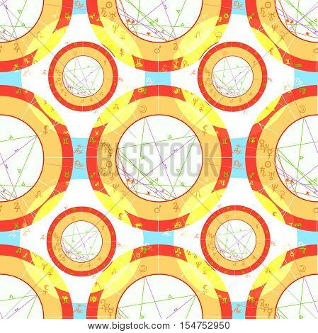 Seamless Pattern Natal Astrological Chart, Zodiac Signs Orange. Vector Illustration
