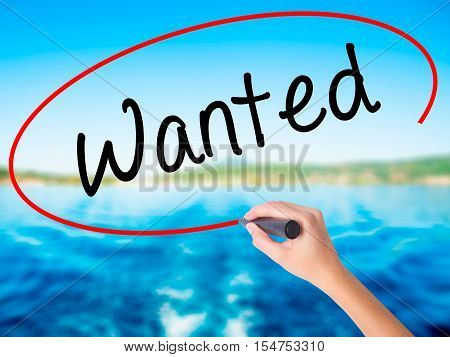 Woman Hand Writing Wanted With A Marker Over Transparent Board.
