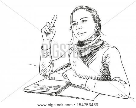 Sketch of schoolgirl with finger pointing up, Hand drawn vector illustration