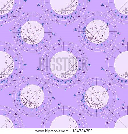 Seamless Pattern Purple Natal Astrological Chart, Zodiac Sign. Vector Illustration
