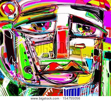 abstract digital painting portrait of a sad man, colorful contemporary modern art composition, perfect for interior design, page decoration, web and other, vector illustration