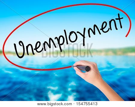 Woman Hand Writing  Unemployment With A Marker Over Transparent Board