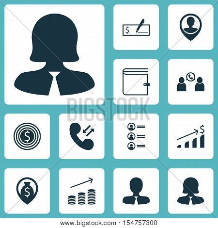 Set Of Hr Icons On Bank Payment, Wallet And Business Woman Topics. Editable Vector Illustration. Inc