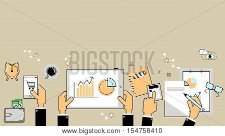 Business analytics concept. Reports finance accounting. Vector flat line