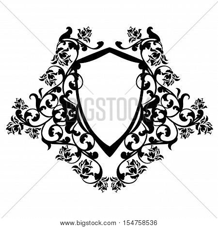 heraldic shield among rose flowers - black and white vector design