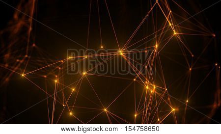 Polygonal Form With Bright Dots. Triangular Morphed Geometry Shape.