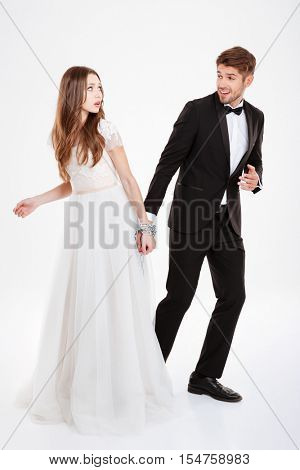 Funny couple in chain. full lenght