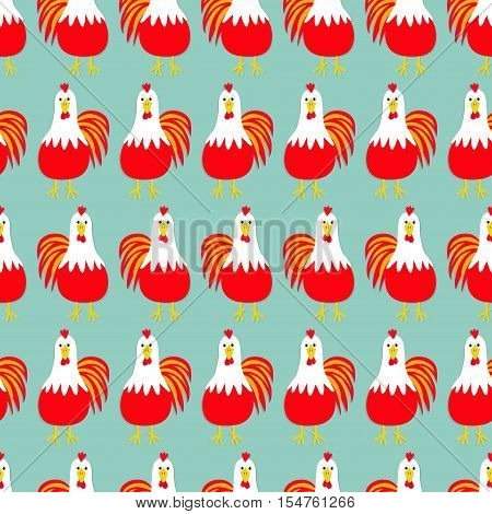 Rooster Cock bird. Seamless Pattern. 2017 Happy New Year symbol Chinese calendar. Cute cartoon funny character with big feather tail. Baby farm animal. Blue background. Flat design Vector illustration