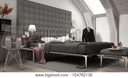 Loft minimal bedroom, interior design, 3d illustration