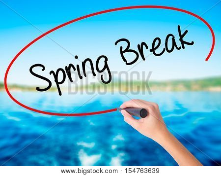 Woman Hand Writing Spring Break No With A Marker Over Transparent Board