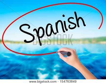Woman Hand Writing Spanish With A Marker Over Transparent Board