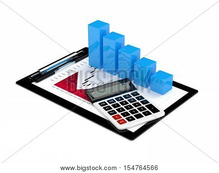 3D Rendering Of Falling Chart With Calculator And Clipboard
